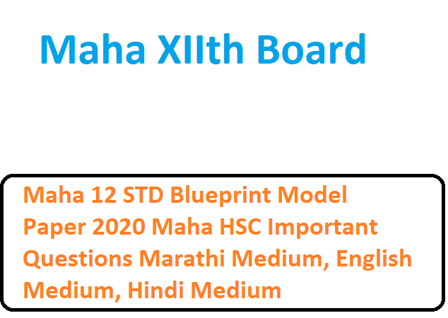 Maha 12 STD Blueprint Model Paper 2020 Maha HSC Important Questions Marathi Medium, English Medium, Hindi Medium